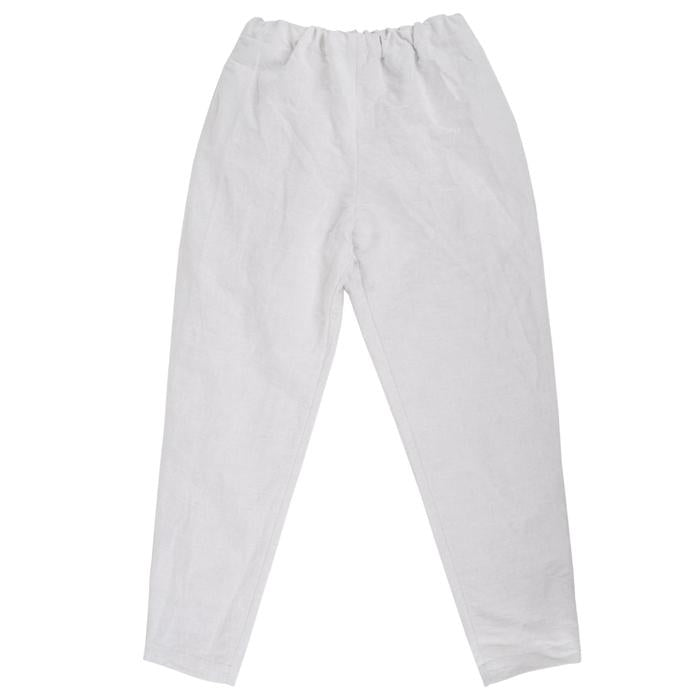 Pull on pants with tapered legs in off-white.