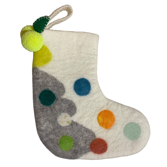 Midos Tail Hand Felted Christmas Stocking Small Cream With Yellow Pompoms
