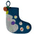 Midos Tail Hand Felted Christmas Stocking Small Blue With Pink Pompoms
