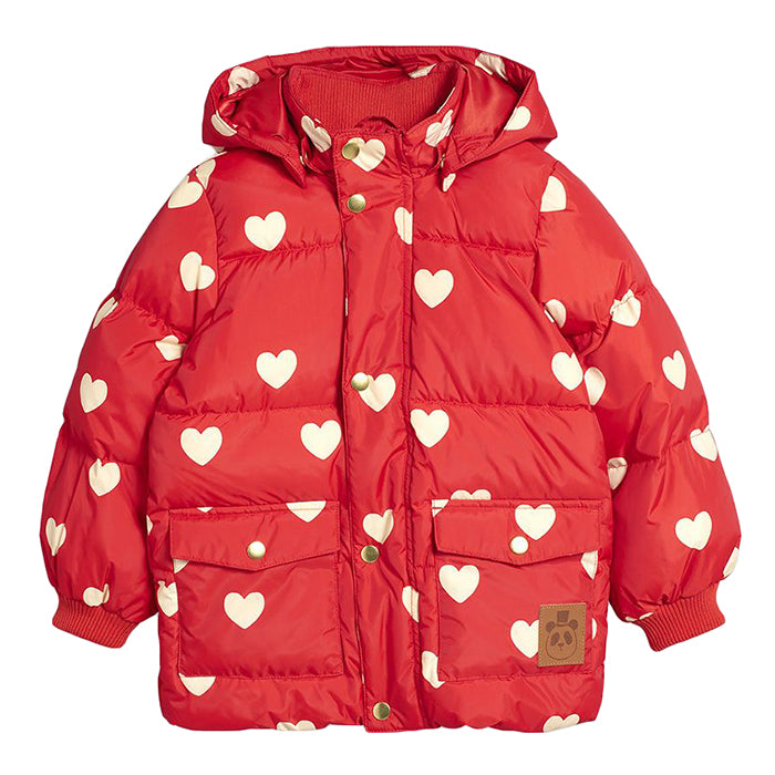 Mini Rodini Baby And Child Pico Puffer Jacket With All Over Hearts Print Red