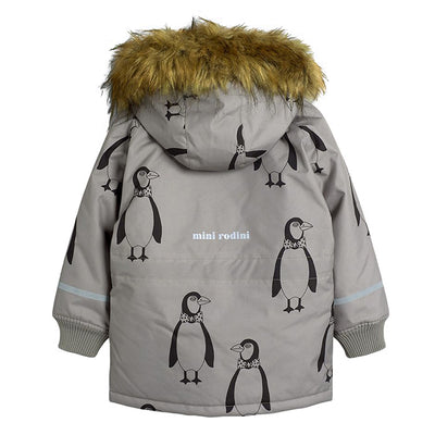 Mini Rodini Baby And Child K2 Coat With All Over Penguin Print Grey