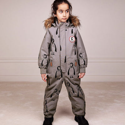 Mini Rodini Baby Kebnekaise Snowsuit With All Over Penguin Print Grey