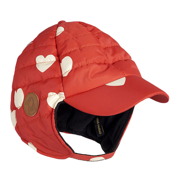 Mini Rodini Baby And Child Insulator Hat With All Over Hearts Print Red