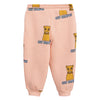 Mini Rodini Baby And Child Sweatpants Pink With Cat Campus Print