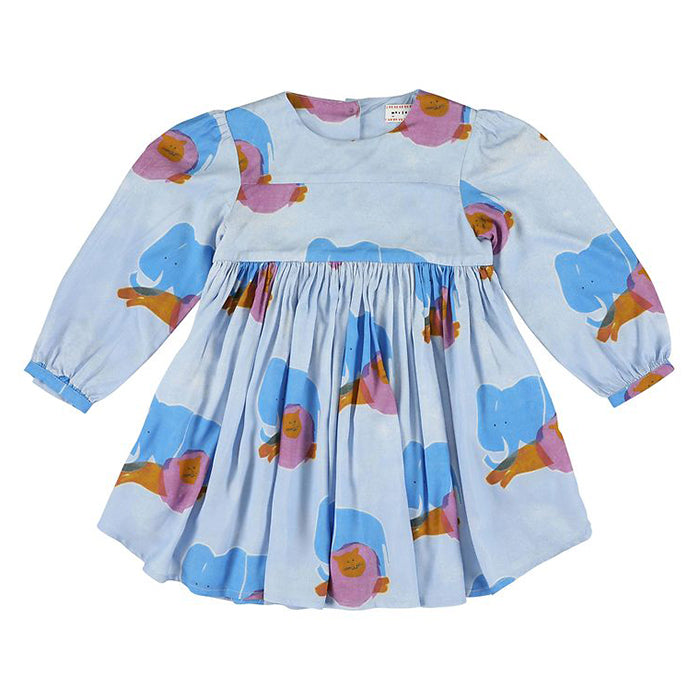 Morley Child Kenzie Dress Carolina Sky Blue With Elephant Print