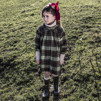 Morley Child Magma Dress Army Green Plaid