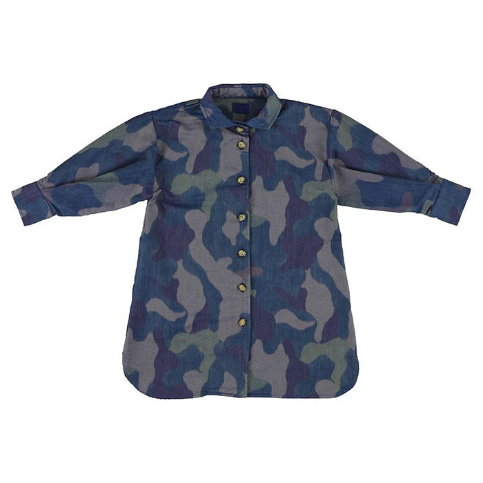 Morley Child Moon Shirt Dress Navy Blue Camoflauge
