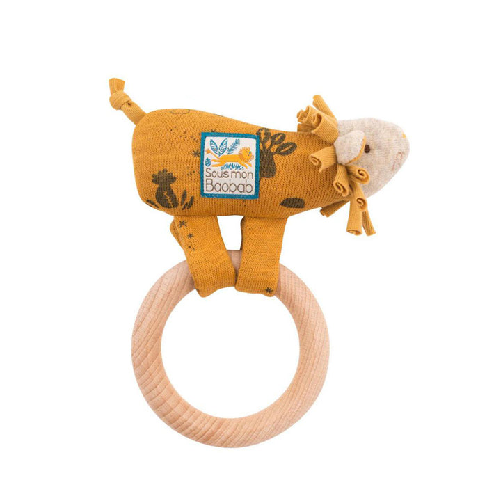 Moulin Roty Sous Mon Baobab Wooden Ring Rattle Lion