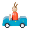 Moulin Roty La Grande Famille Blue Car With Sylvain The Rabbit