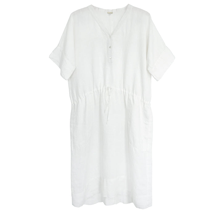 Mercy for Advice From A Caterpillar White Linen Dress with Drawstring