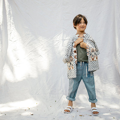 Nico Nico Child Burton Patchwork Pants Blue Stripes