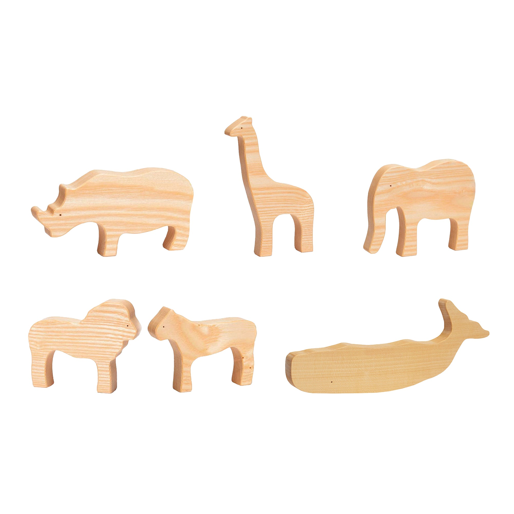 Ocamora Six Piece Set Natural Wooden Animals