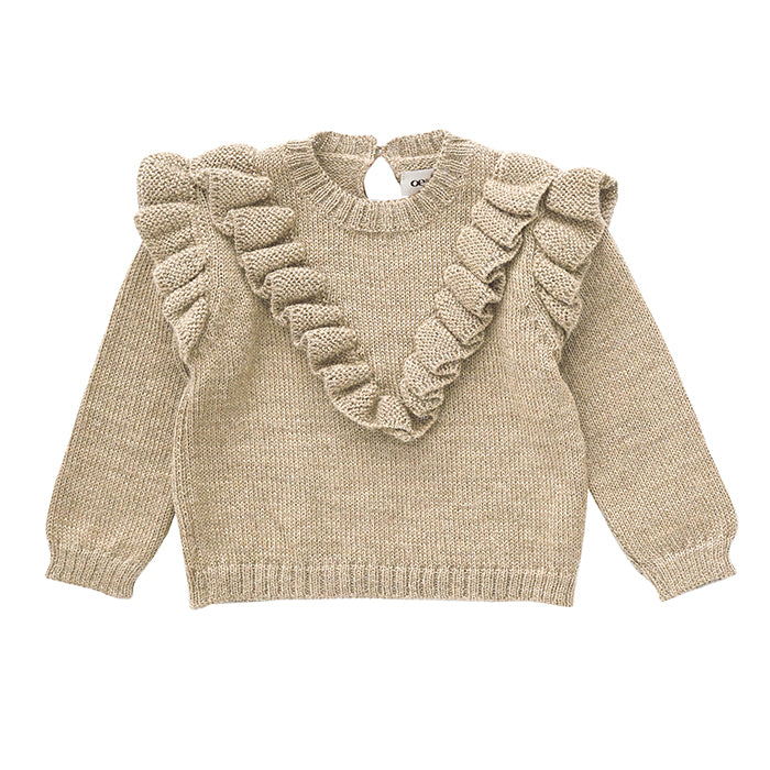 Oeuf Baby And Child Frou Frou Sweater Beige