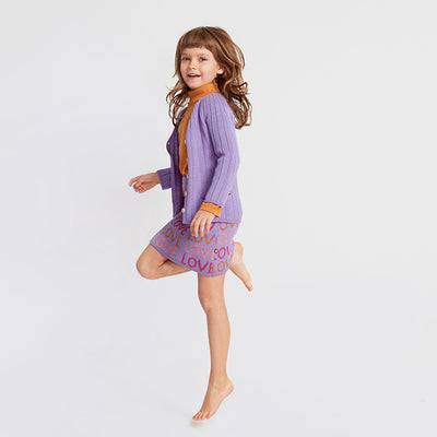 Oeuf Child Double Skirt Lilac Purple With Love Pattern