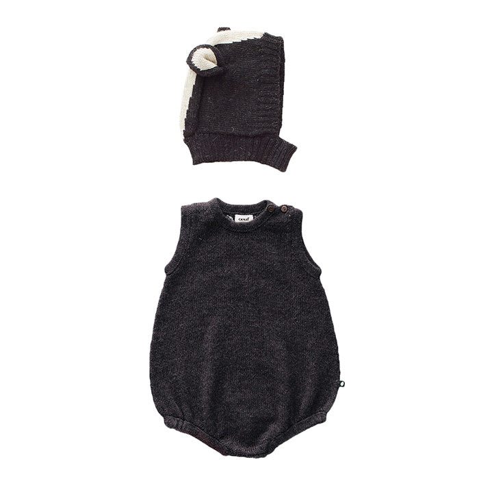 Oeuf Baby Two Piece Skunk Set Black
