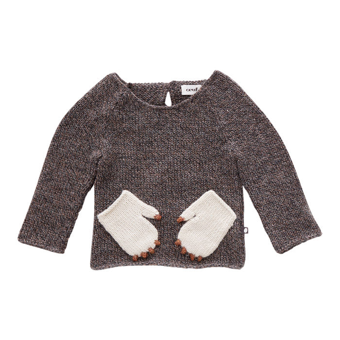 Oeuf Baby and Child Sweater With Monster Pockets Brown