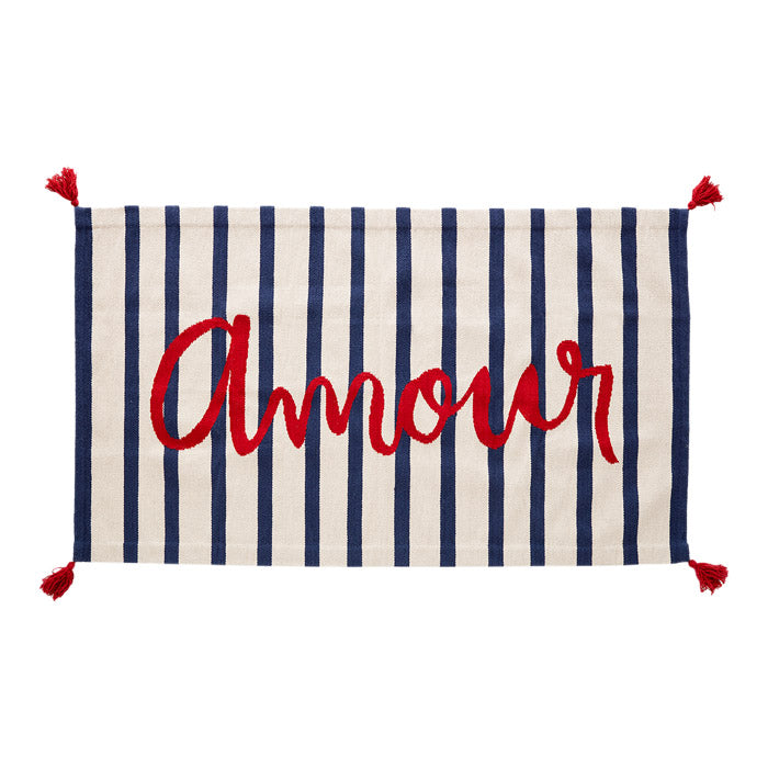 Oeuf Rug Amour White With Indigo Blue Stripes 4' x 6'