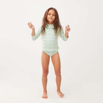 Oeuf Baby And Child Ruffle Swim Top Green Leek Print