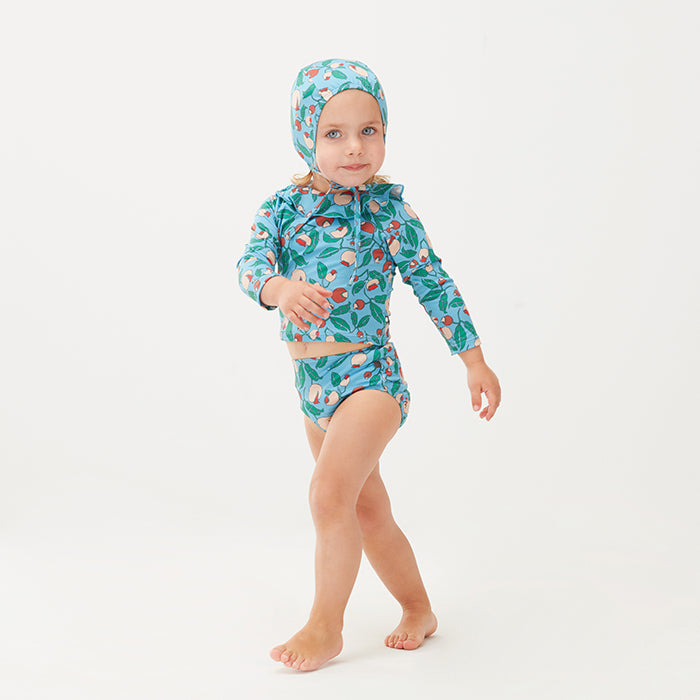 Oeuf Baby And Child Ruffle Swim Top Blue Floral Print