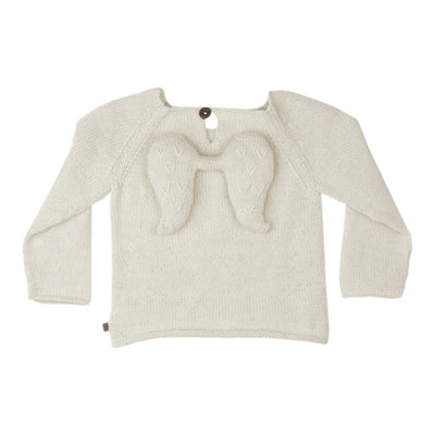 Oeuf Baby Sweater With Angel Wings White