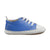 Blue sneakers with soft soles and elastic laces from the side.