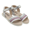 A pair of sandals with white, pink, and silver glitter strap across the foot from the side.