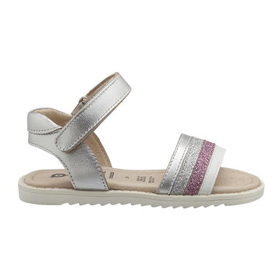 Silver sandal with velcro closure around the ankle and pink and silver glitter strap across the foot.