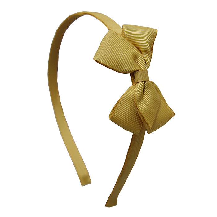 Olilia Hard Hairband Small London Bow Dijon Yellow