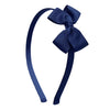 Olilia Hard Hairband Small London Bow Navy Blue