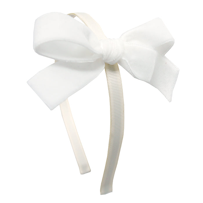 Olilia Hard Hairband Velvet Bow Ivory Cream