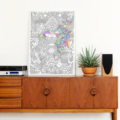 Omy Folded Colouring Poster For Grown Ups Happy Patchwork