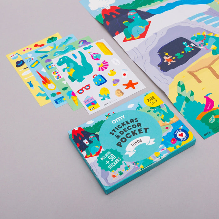 Omy Pocket Poster With Stickers Dinos