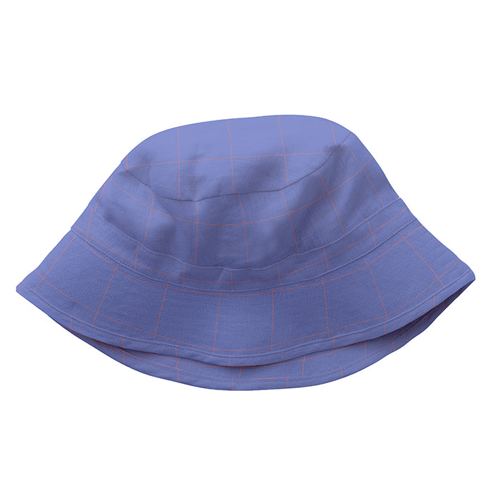 Linen bucket hat in blue with thin red checks.