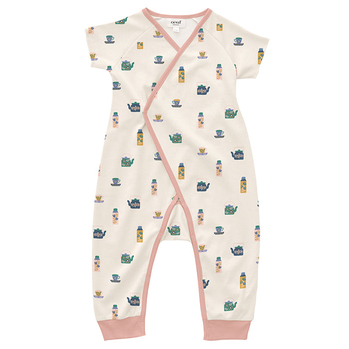 Girl's short sleeved jersey jumpsuit with long legs in an illustrated tea pot print.