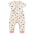 Oeuf baby girl's short sleeved jersey jumpsuit with long legs and an all over illustrated tea pot print and pink trim.
