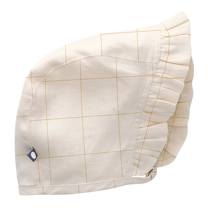 Linen bonnet with under the chin strap in cream with yellow checks.