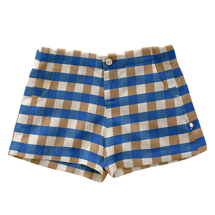 Shorts with a button and fly fastener and side seam pockets in a beige and sky blue gingham linen fabric.