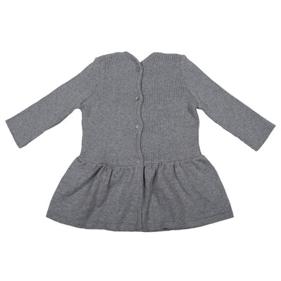 Pequeno Tocon Baby Long Sleeved Ribbed Dress Grey