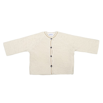 Pequeno Tocon Baby Wool Cardigan Sweater White With Gold