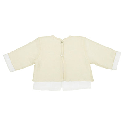 Pequeno Tocon Baby Wool Sweater With Shirt Attached Cream and White