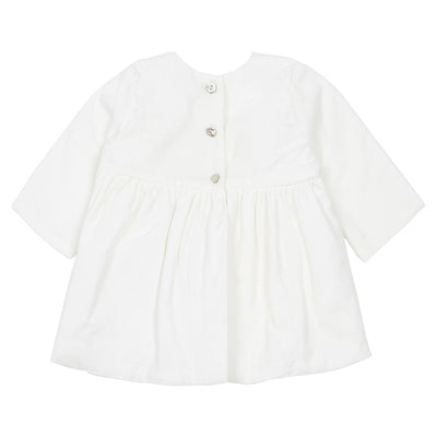 Pequeno Tocon Baby Micropana Long Sleeved Corduroy Dress White