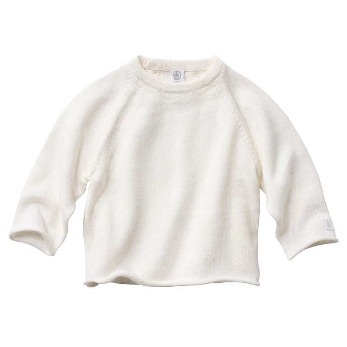 Petit Bateau Baby Sweater With Three Buttons Across The Back Cream