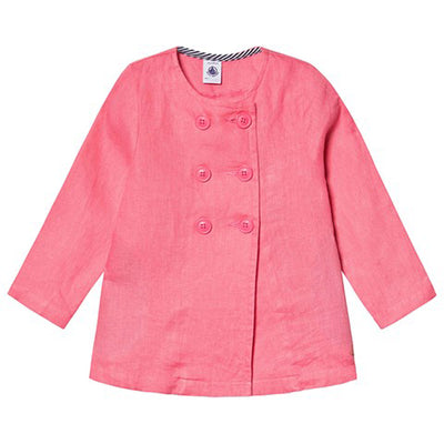 Petit Bateau Child Double Breasted Linen Jacket Cupcake Pink