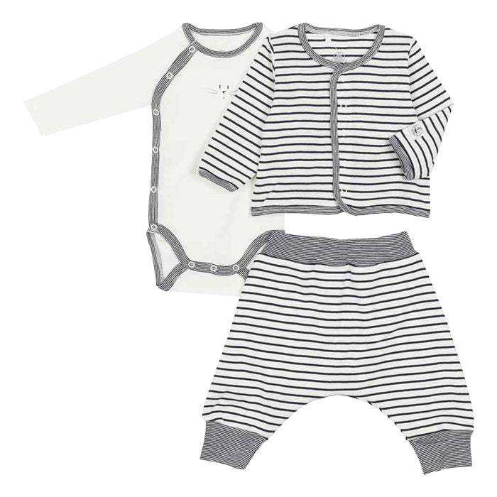 Petit Bateau Baby Three Piece Set Navy Blue Stripes