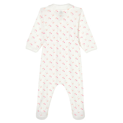 Petit Bateau Baby Pyjamas With Feet Pink Flamingo Print