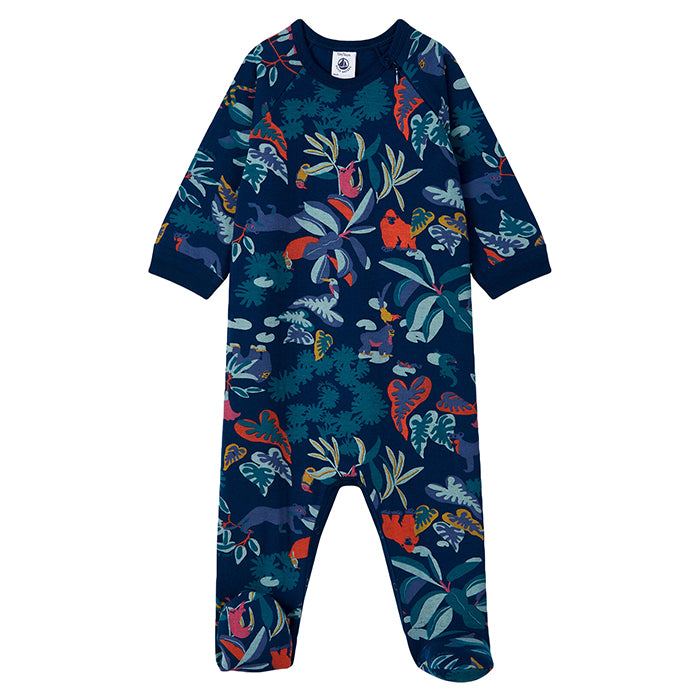Petit Bateau Baby Lanny Pyjamas With Feet Navy Blue Jungle Print