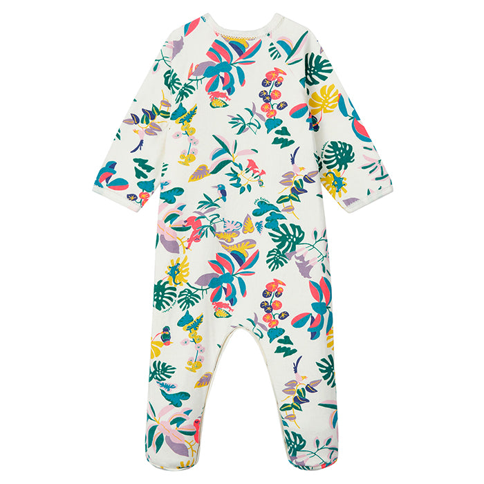Petit Bateau Baby Lanoline Pyjamas With Feet White Jungle Print