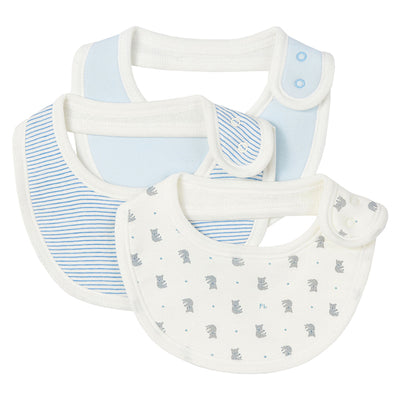 Petit Bateau Baby Ladele Set of Three Bibs Blue
