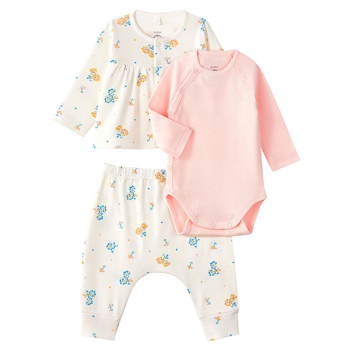 Petit Bateau Baby Ladies Three Piece Set Floral Print Cream
