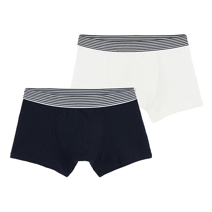 Petit Bateau Child Set Of Two Boxer Underwear White And Navy Blue